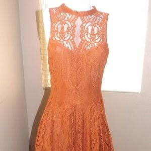 Burnt Orange Free People Lace Dress
